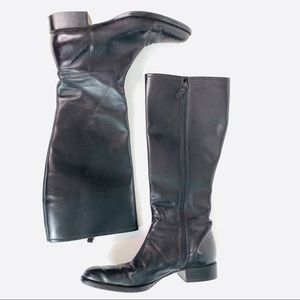 Ralph Lauren Tall Boots Faux Leather Black Size 9